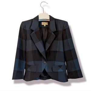 ELIZABETH JAMES lvy Plaid Wool Cropped Blazer 6US 8US